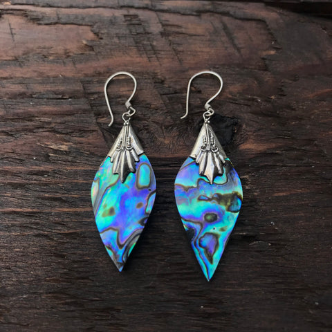 Abalone Abstract Diamond Shaped Drop Earrings With 925 Sterling Silver Embellishment
