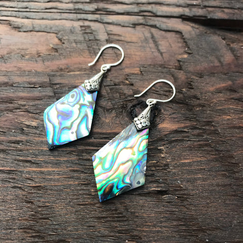 Abalone Shell Rhombus Shaped Drop Earrings With 925 Sterling Silver Embellishment