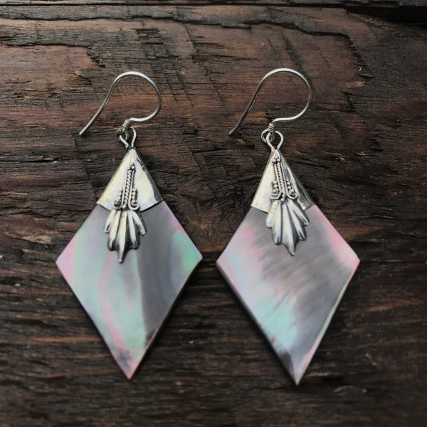 Black Mother Of Pearl Rhombus Shaped Drop Earrings With 925 Sterling Silver Embellishment