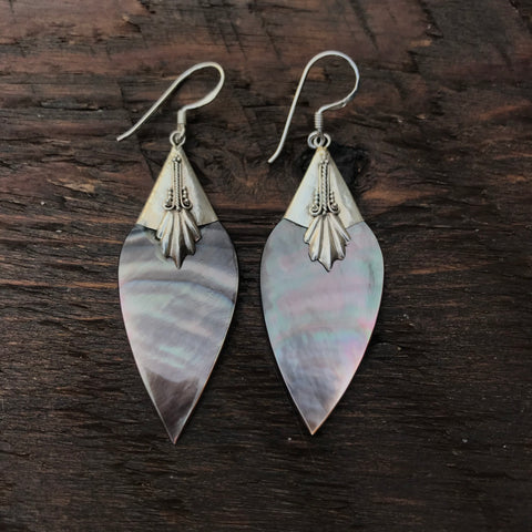 Black Mother Of Pearl Abstract Diamond Shaped Drop Earrings With 925 Sterling Silver Embellishment