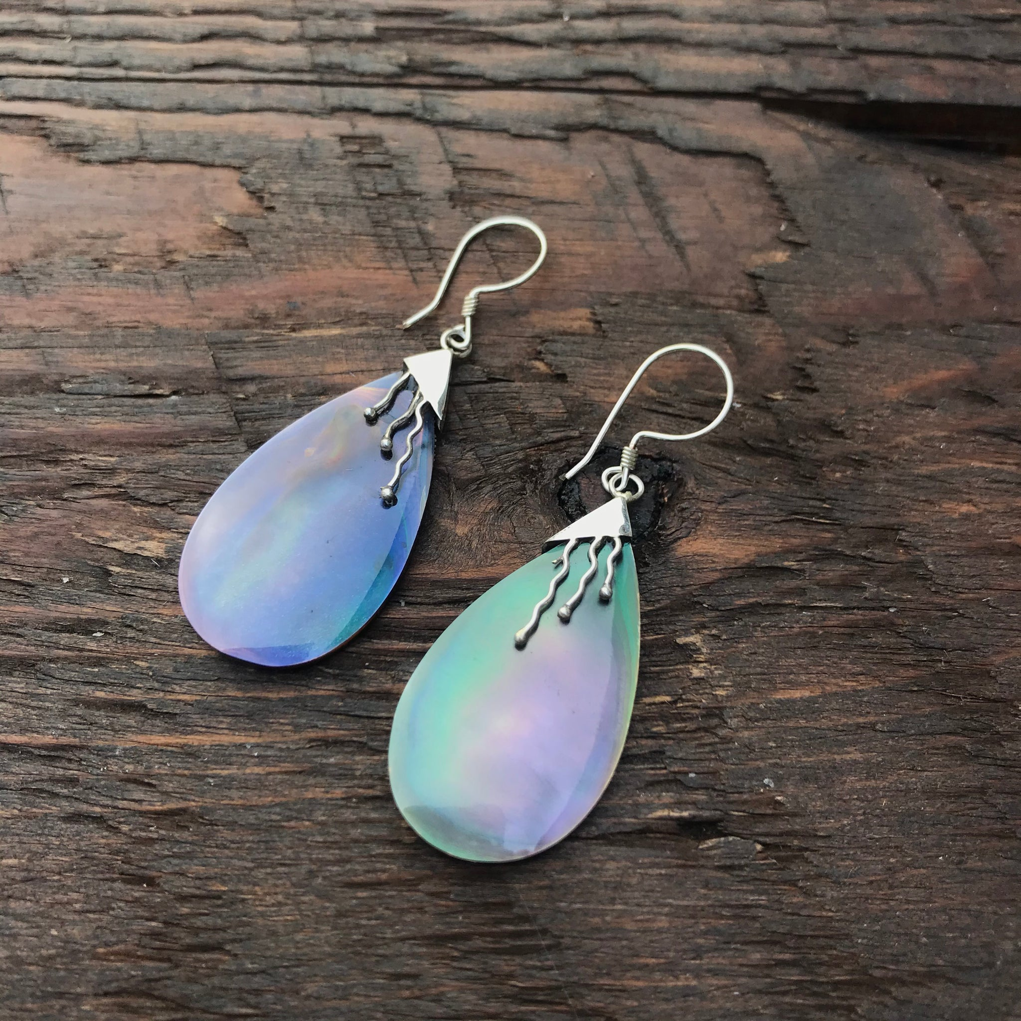 Black Mother Of Pearl Drop Pear Shaped Earrings With 925 Sterling Silver Embellishment