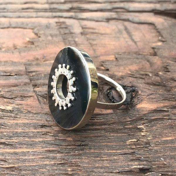 Black Mother of Pearl Tribal Embellishment Sterling Silver Ring