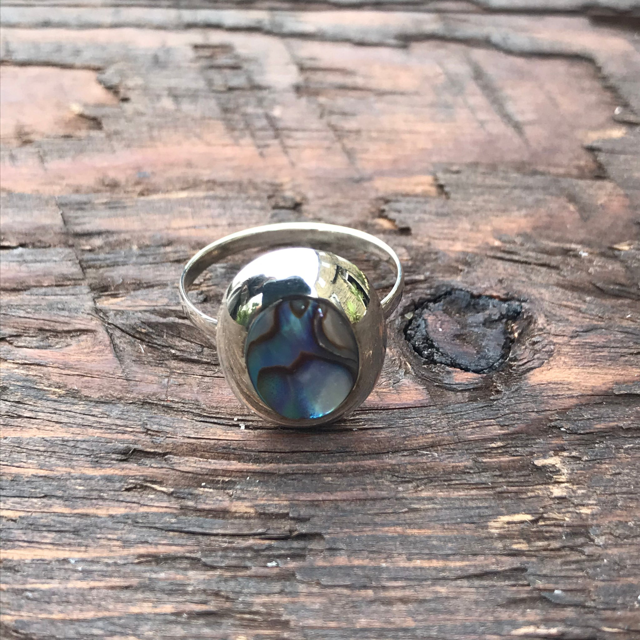 Abalone Shell Oval Sterling Silver Ring