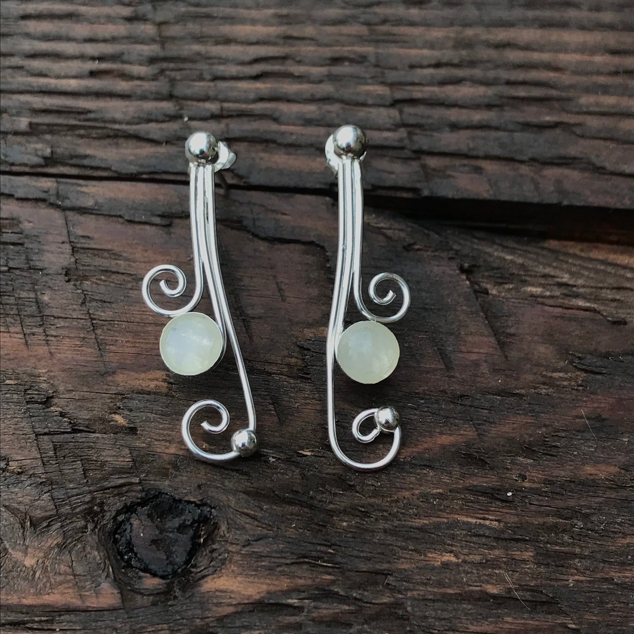 Moonstone & Spiral Design Drop Earrings