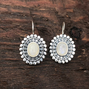 Moonstone Ethnic Design Drop Earrings