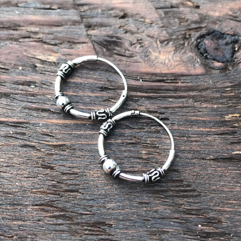 Sterling Silver Balinese Hoop Earrings (Single Silver Ball Design)