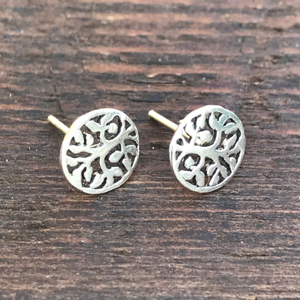 Sterling Silver 'Abstract Branch ' Design Stud Earrings