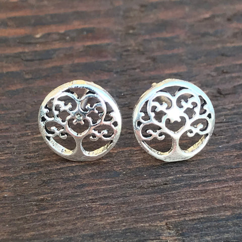Sterling Silver 'Abstract Tree of Life ' Design Stud Earrings