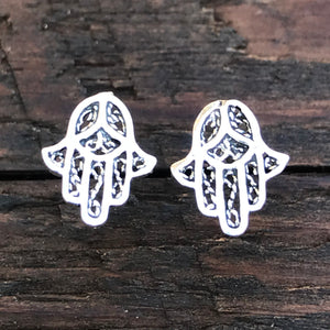 Sterling Silver 'Hamsa Hand' Stud Earrings
