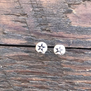 Sterling Silver Dome 'Etched Star' Design Stud Earrings