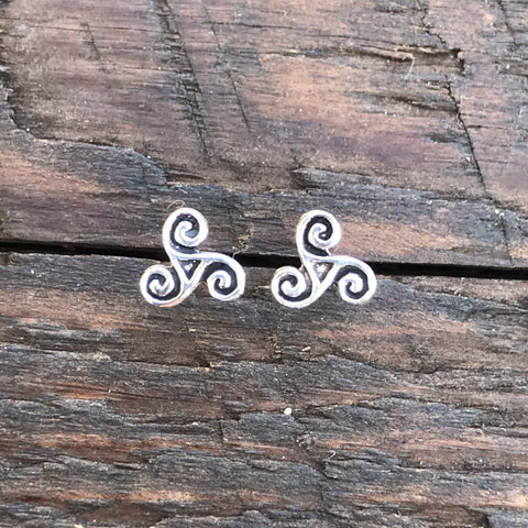 Sterling Silver 'Triskeles' Stud Earrings