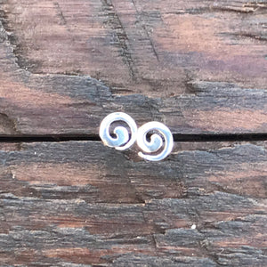 Sterling Silver 'Ocean Swirl' Stud Earrings