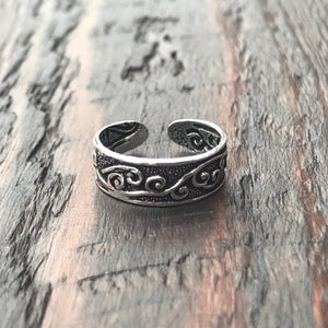 'Swirling Branch' Sterling Silver Toe Ring