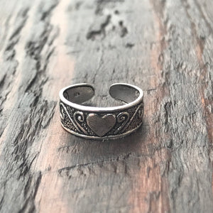 'Love Heart' Sterling Silver Toe Ring