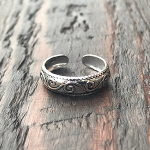 'Swirl' Sterling Silver Toe Ring