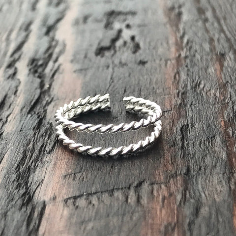 'Rope Twist' Sterling Silver Toe Ring