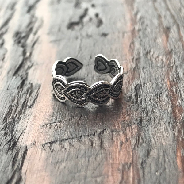 'Heart Wreath' Sterling Silver Toe Ring