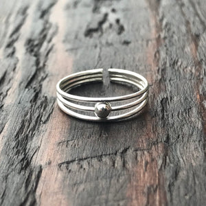 '3 Band & Ball' Sterling Silver Toe Ring