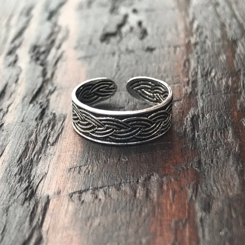 'Braid' Sterling Silver Toe Ring
