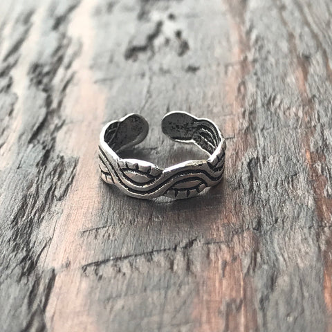 'Tribal Wave' Sterling Silver Toe Ring