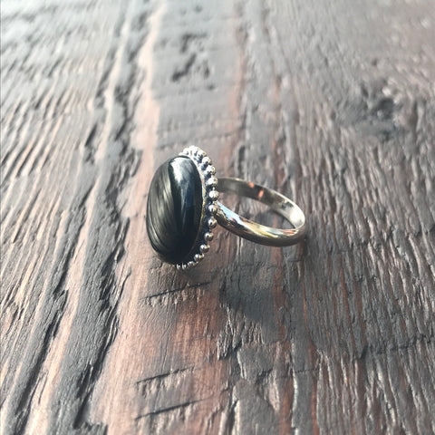 Round Black Sterling Silver Ring With Ethnic Bead Detailing