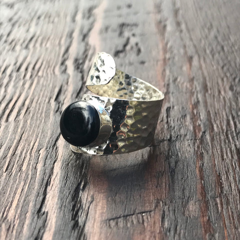Black Adorned Twist Design Hammered Sterling Silver Ring