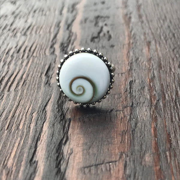 Round Shiva Shell Sterling Silver Ring With Ethnic Bead Detailing