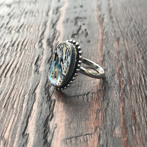 Oval Abalone Shell Sterling Silver Ring With Ethnic Bead Detailing