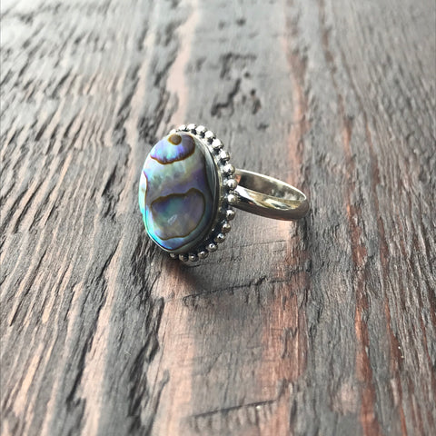 Round Abalone Shell Sterling Silver Ring With Ethnic Bead Detailing