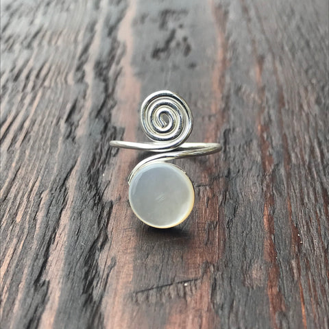 Mother of Pearl Spiral Design Sterling Silver Ring