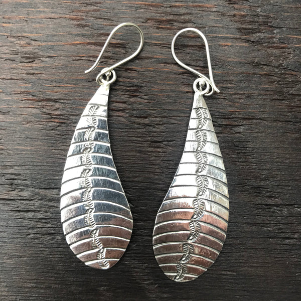 'Karen Hill Tribe' Etched Leaf Design Sterling Silver Earrings