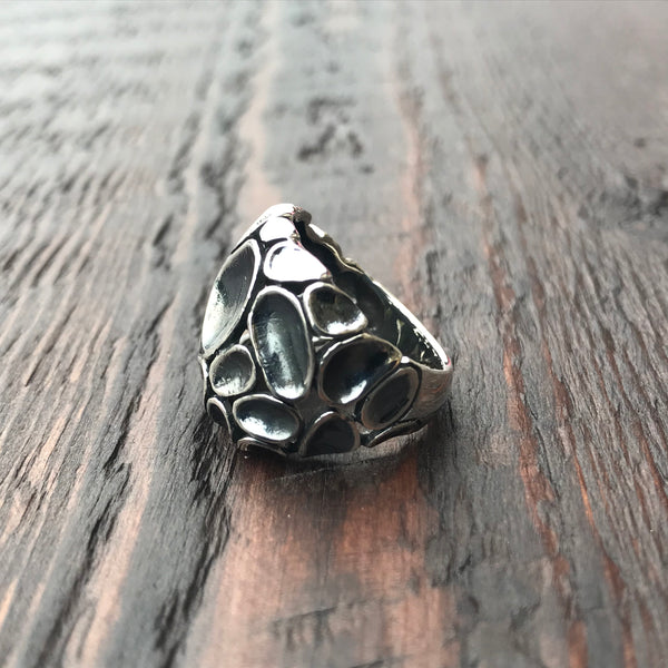 'Luna' Abstract Crater Sterling Silver Ring