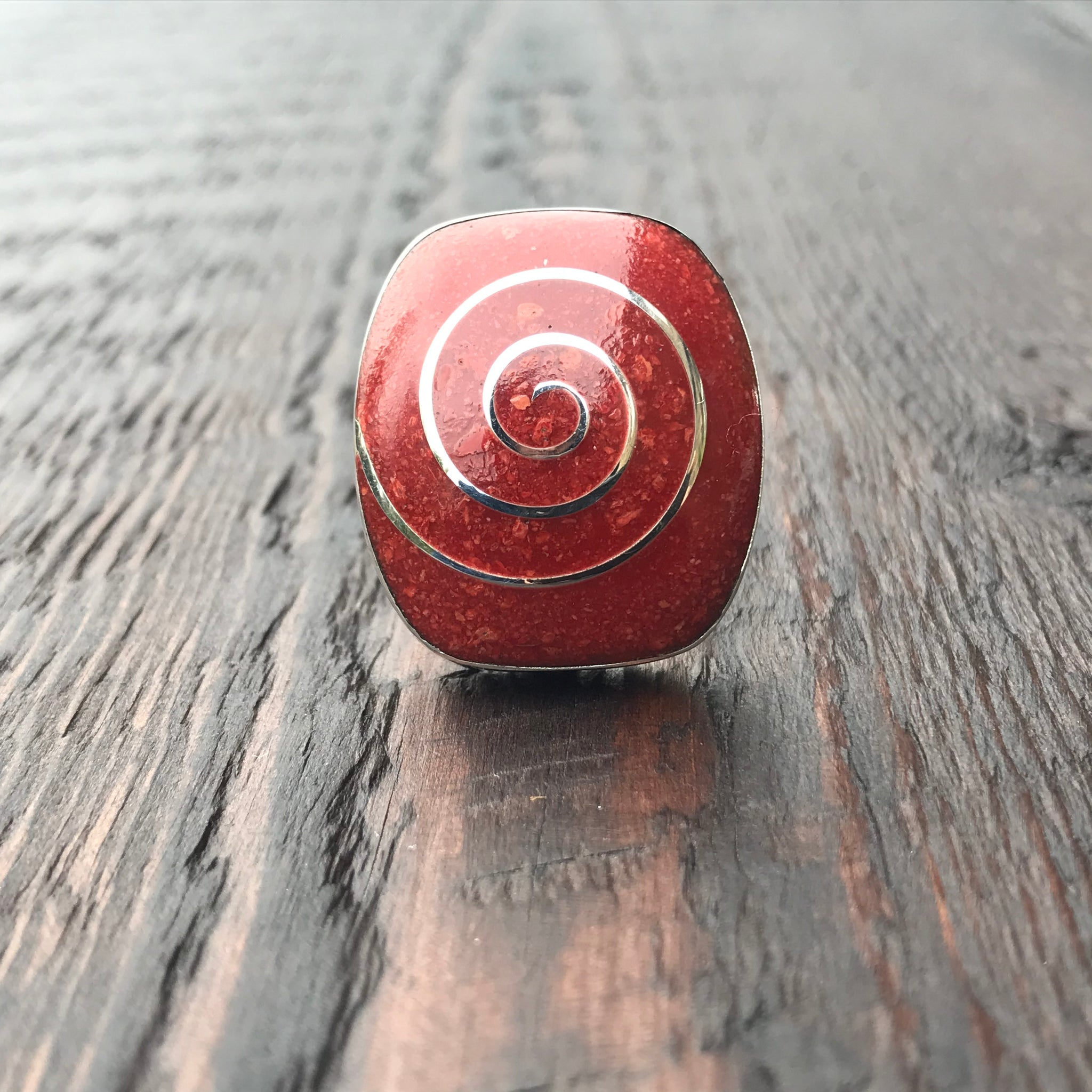 Coral Silver Spiral Inlay Statement Sterling Silver Ring