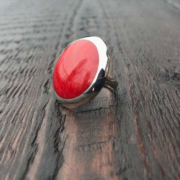 Coral Round Statement Sterling Silver Ring