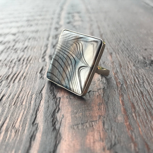 Mother of Pearl Handpainted Sterling Silver Ring
