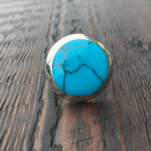 'White Isle' Statement Blue Turquoise Sterling Silver Ring