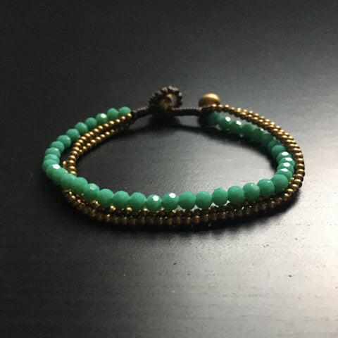 'Brass-Works' Faceted Bead and Brass Bracelet (Cyan)