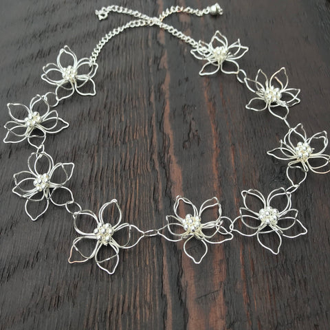 'Lotus Flower' Collar Sterling Silver Necklace