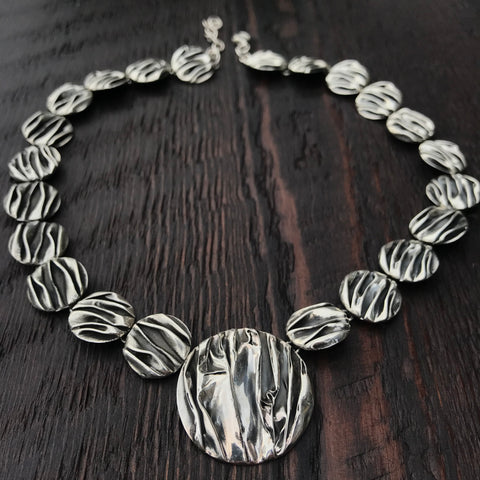 'Rocks' Designer Unique Sterling Silver Link Necklace