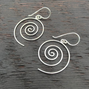 'Spiral' Sterling Silver Drop Earrings