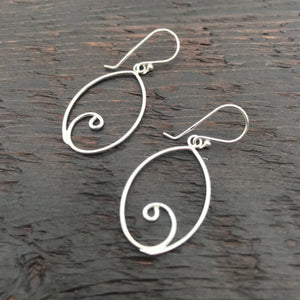 'Solitary' Sterling Silver Drop Earrings