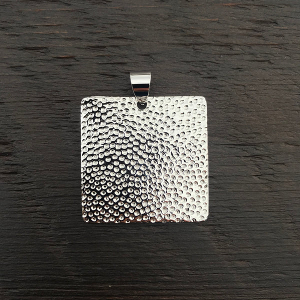 Large Hammered Textured Sterling Silver Pendant