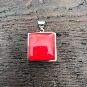 'Vitality' Red Coral Square Shaped Pendant