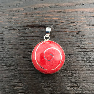 'Vitality' Red Coral Round & Silver Spiral Pendant