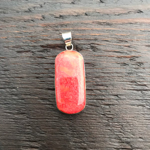 'Vitality' Red Coral Oblong Shaped Pendant