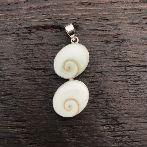 Binary Oval Shiva Shell Pendant