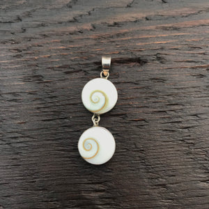 Double Drop Round Shiva Shell Pendant