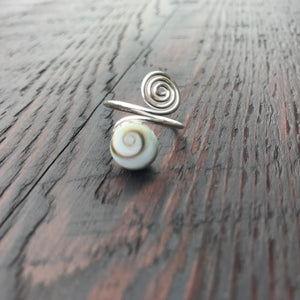 Shiva Shell Spiral Design Sterling Silver Ring