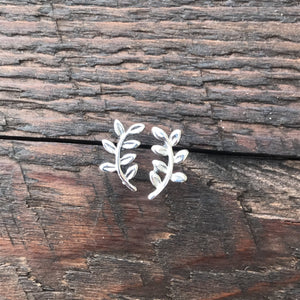 Sterling Silver 'Curved Branch' Design Stud Earrings