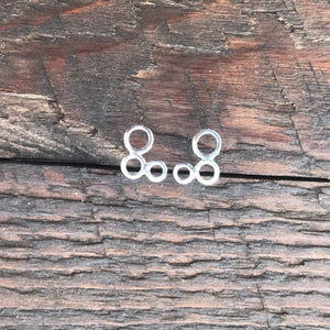 Sterling Silver 'Circular Trio' Stud Earrings